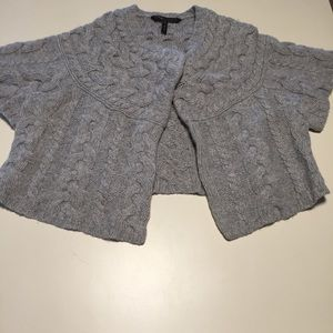 Bcbgmaxazria Wool Shrug Cable Knit Gray Sweater